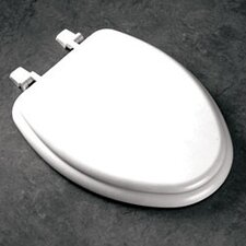 Elongated Molded Wood Toilet Seat with Top-Loc Hinges in White