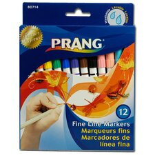 12 Assorted Colors Fine Point Washable Marker