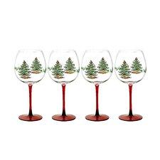 Christmas Tree Glass Wine Goblet (Set of 4)