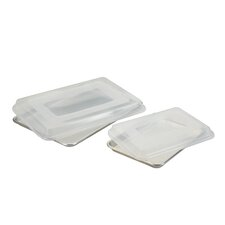 Natural Commercial 4 Piece Baking Sheet Set with Lids