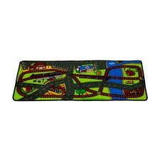 Lets Hop on the Train Green Area Rug