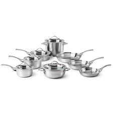 Contemporary 13 Piece Stainless Steel Cookware Set