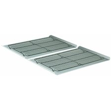 """4 Piece 19"""" Nonstick Cookie Sheet and Cooling Rack Set"""