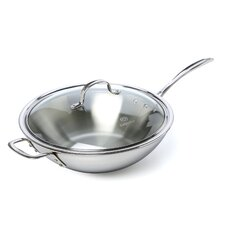 "Tri-Ply Stainless Steel 12"" Frying Pan with Lid"