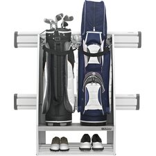 Premier Series Weleded Steel 2-Bag Golf Caddy Garage Wall Storage in White