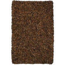 Pelle Leather Brown Area Rug