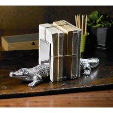 2 Piece Kindwer Cast Aluminum Alligator Book End Set