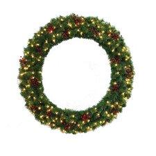 "60"" Lighted Multi Tip Semi Decorated Wreath"