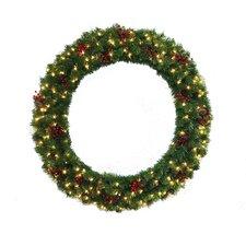 "48"" Lighted Multi Tip Semi Decorated Wreath"
