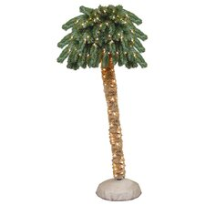 6' Green Tropical Artificial Christmas Palm Tree with 150 Clear Lights