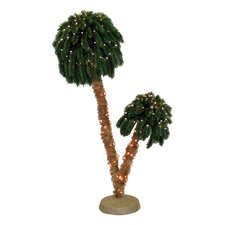 6' Green Tropical Artificial Double Headed Christmas Palm Tree with 250 Yellow Lights