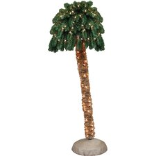 5' Green Tropical Artificial Christmas Palm Tree with 150 Clear Lights