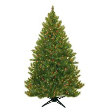 6.5' Evergreen Fir Artificial Christmas Tree with 450 Multicolored Lights