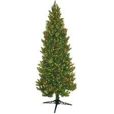 7' Green Slim Spruce Artificial Christmas Tree with 450 Multicolored Lights