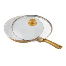 Ceramicore 24 cm Non-Stick Ceramic Sauté Pan in Gold with Lid