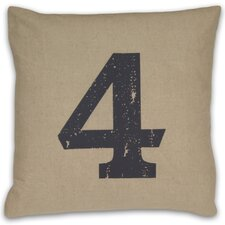 Numeral 4 Linen Throw Pillow