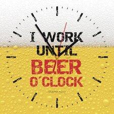 Analoge Wanduhr I Work Until Beer O'Clock