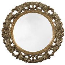 Traditional Antique Silver Round Beveled Glass Wall Mirror