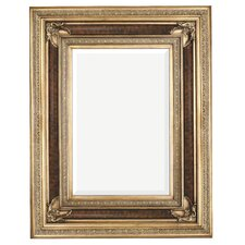 Rectangular Antique Wood Framed Traditional Glass Wall Mirror