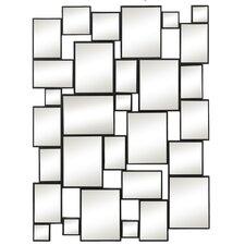 Stylish Rectangular Contemporary Black Finish Wood Wall Mirror