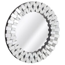 Decorative Contemporary Round Wood Frame with Beveled Mirror Panels