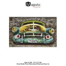 3D Classic American Vintage Car Picture Painting Print Plaque
