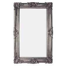 Antique Silver Leaf Finish Traditional Framed Beveled Glass Wall Mirror
