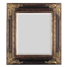 Bronze with Gold Square Antique Framed Beveled Glass Wall Mirror