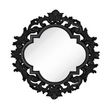 Large Wall Mirror with Modern Glam Black Lacquer Frame
