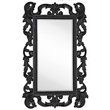 Large Rectangular Traditional Black Lacquer Beveled Glass Antique Wall Mirror