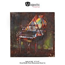Colorful Piano Square Mixed Media Painting Print Plaque