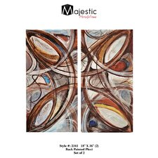 Colorful Abstract Rectangular Back Painted Plexiglass 2 Piece Painting Print Set