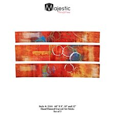 Mixed Media 3 Piece Curved Painting Print Set