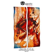 Tall Rectangular Hand Painted Curved Abstract 2 Piece Painting Print Set