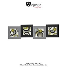 Abstract Stylish Glass Panel Square 4 Piece Framed Painting Print Set