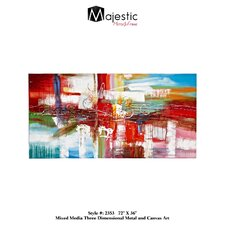Large Rectangular Colorful Painting Print on Wrapped Canvas