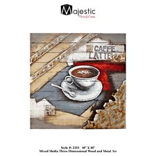 Square Abstract Hand Painted Espresso Brown Coffee Painting Print Plaque