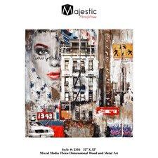 Urban New York City Square Painting Print Plaque