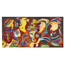 Colorful Tribal Faces Mixed Media Painting Print Plaque