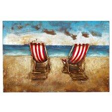 Beautiful Beach Scene 3D Rectangular Painting Print Plaque