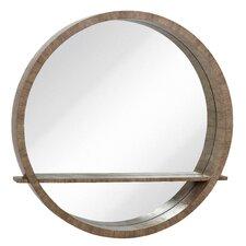Distressed Gray Circular Wall Mirror with Shelf