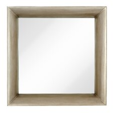 Modernist Mirror with Dimensional Antique Silver Leaf Frame