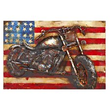 Rustic American Motorcycle 3D Rectangular Painting Print Plaque