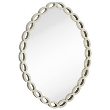 Contemporary Oval Silver Leaf White Unique Hanging Glass Wall Mirror