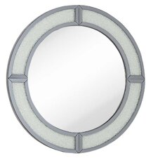 Contemporary Round Wood Framed Smoked Mirror with Glass Beads Hanging Wall Mirror