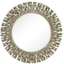 Large Round Antique Silver Decorative Beveled Glass Wall Mirror
