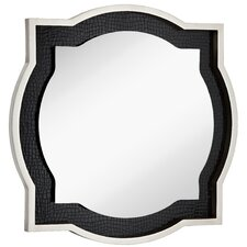 Round Accent Mirror with Chic Silver Leaf and Black Crocodile Frame
