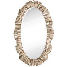 Oval Antique Silver Leaf Ornate Framed Beveled Glass Wall Mirror
