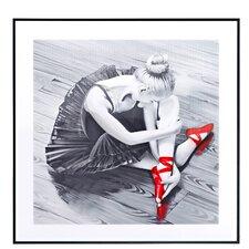 Square Ballerina with Ballet Slipper Framed Graphic Art in Red