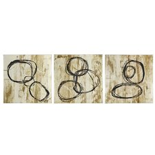 Abstract Mixed Media 3 Piece Painting Print on Canvas